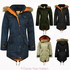 NEW WOMENS LADIES OVERSIZED TRENCH FUR HOODED LONG FISHTAIL PARKA JACKET COAT