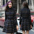 Fashion Womens British Casual Checks Trench Coat Slim Fit Woolen Peacoat Jacket