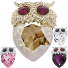 Luxury Owl Night Bird Heart Figural Brooch Pin Austrian Crystals Jewelry Party
