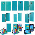 PU Leather Luxury Flip Stand Case Sky Blue Cover Credit Card Wallet Skin