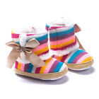 Baby Kids Newborn Infant Girls Winter Warm Colorful Stripe Snow Boots Shoes Gift
