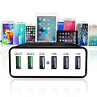 60W 6-Ports Dual QC 2.0 USB Charger Adapter Wall AC Power Supply Charger 90-240V
