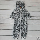 Girls Faux Fur Snow Leopard Onesie Super Soft Age 12 Months -4 Years New