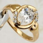 Size 5.5 6.5 Simple Hot White Pear CZ Gems Jewelry Rose Gold Filled Ring R2316