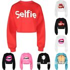 Black/White/Red Women's Crop Top Sweatshirt Long Sleeve Pullover Cropped Hoodie