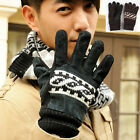 Men Winter Leather Motorcycle Full Finger Warm Gloves Fashion Mitten Coffee Blac