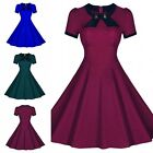 1950s Vintage Short Sleeve Scoop Neck Bowknot Swing Dress Solid Green/Blue/Red