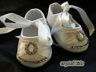 * SALE ** Baby Girls White Satin Crystal Christening Wedding Shoes 6 - 12 month