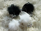 Girls White Black Crystal Feather Bow Hair Clip *** MADE TO ORDER ***