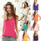 CH Women's  Fashion Summer Casual Chiffon Vest Tops Tank Sleeveless Shirt Blouse