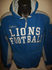 Detroit LIONS Fuzzy Fleece Hooded Jacket Sewn Logos M L XL 2X Blue Gray on eBay