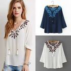 New Fashion Womens Ladies Loose Tops 3/4 Sleeve Shirt Casual Blouse casual