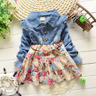 Toddler Baby Girls Kids Floral Denim Long Sleeve Clothes Dress Size 12-24M 3T 4T