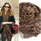 Outdppr Ladies Fashion Large Dark Brown Animal Leopard Print Crinkle Scarf Shawl