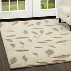 Modern Ivory Cut & Loop Area Rug Contemporary Abstract Leaves Floor Decor Carpet