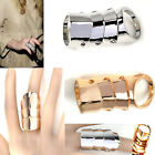 CHIC Fashion Cool Punk Rock Gothic Scroll Armor Joint Knuckle Double Finger Ring