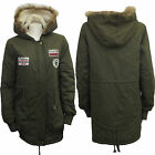 LADIES MILITARY WOMENS HOODED FLEECE LINED PARKA PADDED LONG JACKET COAT COTTON