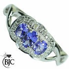 BJC® 9ct White gold Tanzanite & Diamond cluster size N dress ring R68