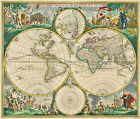 MP5 Vintage Historical 1670 World Map Poster Re-Print  A1 A2 A3