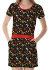Black Skull Pattern Women's Clothing Top Dress With Pockets