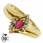 BJC® 10ct Yellow gold Ruby & Diamond cluster size M engagement dress ring R18