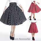 RK108 1950s Polka Dots Circle Swing Dance Skirt Rockabilly Pin Up Retro RockRK10