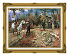 The Hold Up Charles M Russell Vintage Cowboy Art Painting Repro Print on Canvas