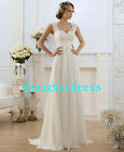 New Stock White/Ivory Applique Chiffon Wedding Dress Bridal Gown Uk Size 6-24