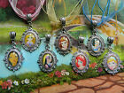 DISNEY OVAL RAPUNZEL BAMBI BELLE ARIEL CINDERELLA PENDANT NECKLACE GLASS DOME