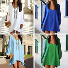 CHIC New Women Sexy Summer Chiffon Long Sleeve Blouse Mini Dress Tunic Tops