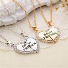 Fine Fashion Splice Heart Pendant Best Friend Letter Necklace Women's Jewelry TB