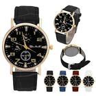 Men's Leather Band Analog Quartz Solid stainless steel gift Business Wrist Watch