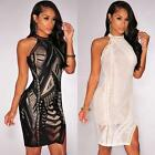 Women Mini Dress Bodycon Sleeveless Backless Club Cocktail Party Evening V6R5