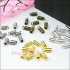 100Pcs End Crimp Fasteners Fit 2mm Necklace/Cord Silver,Gold,Bronze R5085