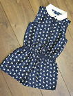 New Girls ex Next Navy Blue Floral Ditsy Playsuit Peter Pan Collar 3-10 Years