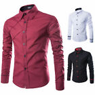 2015Mens New Korean Button Front Long Sleeve Slim Fit Dress Casual Formal Shirts