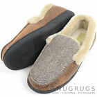 Mens Herringbone Design Moccasin Style Slipper with Warm Faux Fur Lining