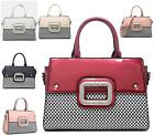 LADIES FAUX PATENT LEATHER DESIGNER STYLE MONOCHROME DIAMANTE FASHION HANDBAG