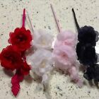 "Millinery Flower 1 1/2"" Rose in Spray Doll Size Choose Pink White Red Black KZ26"