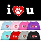 I Love U Valentines Day Dog Shirt Pet Puppy Clothes Apparel Funny Dog Tee