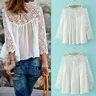 CHIC Sexy Ladies Women Blouse Casual White Lace Shirts Chiffon Blouses T Shirt
