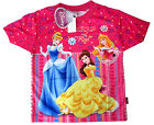 Disney Princess Cinderella Aurora girls vibrant pink t-shirt XS-L 4-8y Free Ship