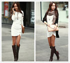 Fashion Women's Sexy Tight Buttons Long Sleeve Coat Dress Tops Blouse S-XL #2