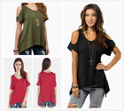 Women's Expose Shoulder Cotton Casual Short Sleeve T-Shirt Tops Blouse Hoodie
