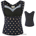RKB32 Lindy Bop Dorelia Blue Beige Polka Dots Top Rockabilly Pin Up 50s Vintage