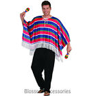 CSW33 Mexican Poncho Red Blue Mens Fancy Dress Costume Wild West Amigo Cowboy