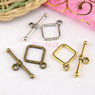 12Sets Tibetan Silver,Antiqued Gold,Bronze Square Connectors Toggle Clasps M1412