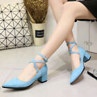 New Stylish Women Ladies Chunky Heel Shoes Ankle Buckle Strap Pointy Toe Pumps