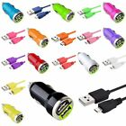 2A Dual Car Charger+ 6FT Micro USB Data Cable Cord for Cell Phones Samsung