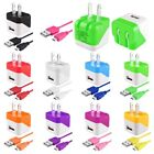 USB Mini Travel Wall Home Charger + 10FT Micro USB Cable Cord For Phone